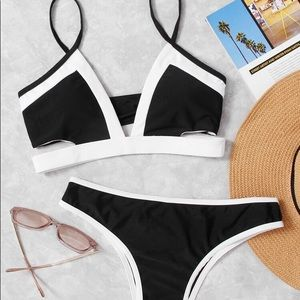Contrast Trim Top With High Leg Bikini Set